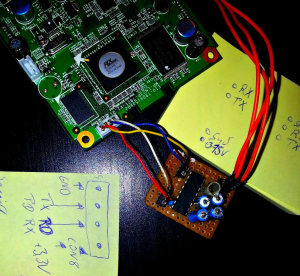 CL-35B2 Board mit selbst gebasteltem RS232 Wandler...