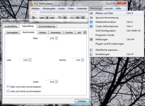 Video Beschnelden im VLC Videolan Client