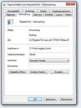 Schriftart mit RegisterFonts einstellen Fenster unter Windows 7
